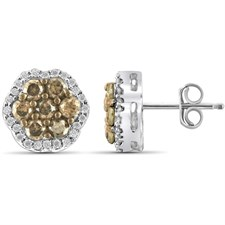 1 CTW ROUND-CUT CHAMPAGNE DIAMOND EARRING